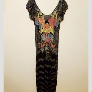 Elan Graphic Tattoo Love Printed Maxi Dress NEW